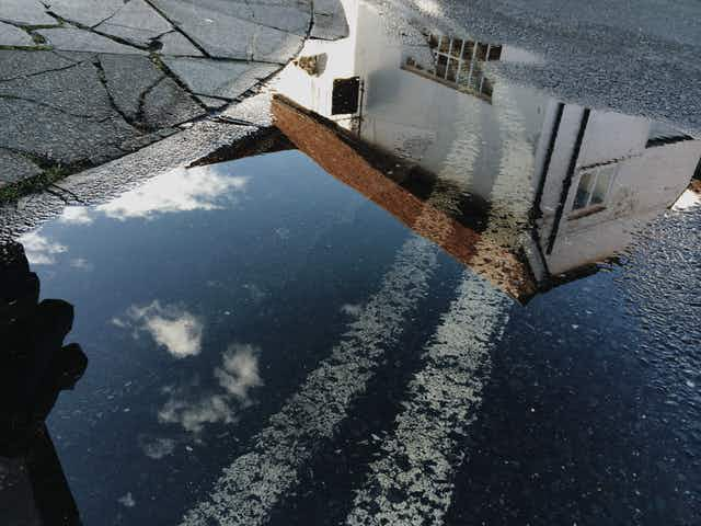Reflections from a puddle where a street meets a sidewalk
