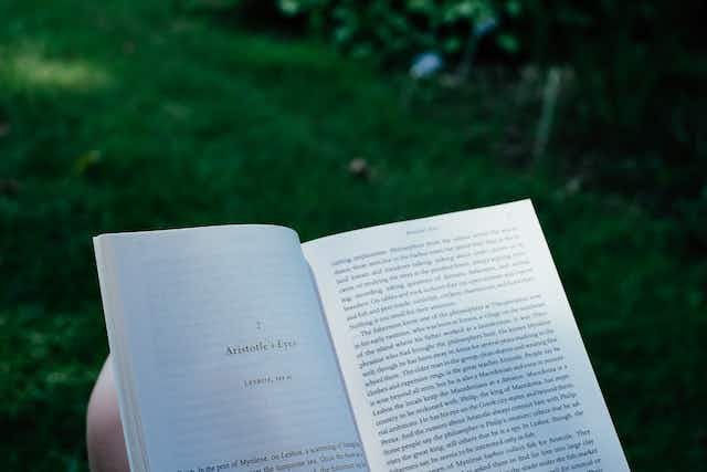"A book open to a page with the title ""Aristotle's Eyes"", set in a grassy, shady garden."