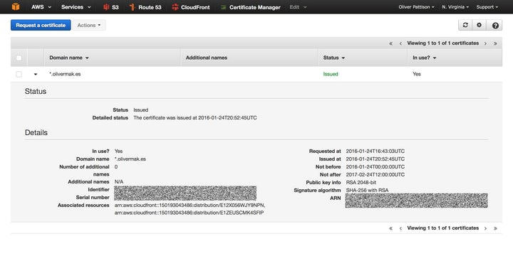 Screenshot of a certificate in the AWS console.
