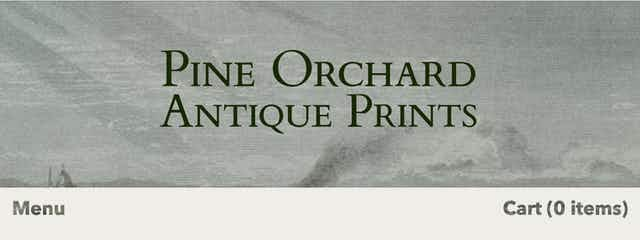 Pine Orchard Antique Prints banner logo as a part of the banner on the shop