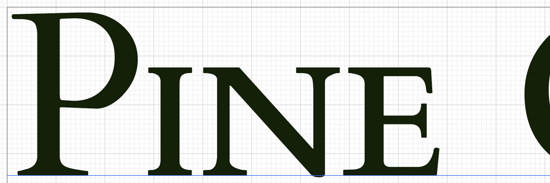 Close view of the letter forms for Pine in the logo.