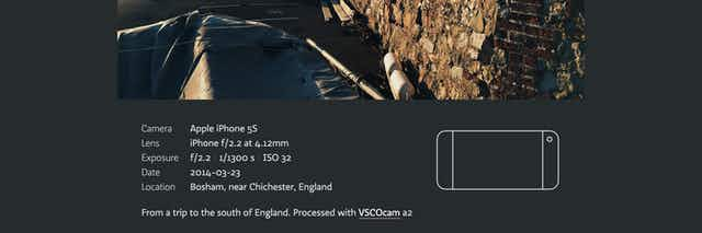 example of photo metadata which accompanies individual photos and maps, showing that the camera used is an iPhone and what camera settings were used